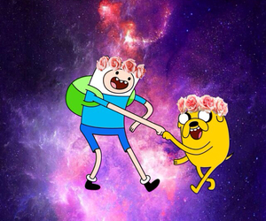 adventure time, flower crown, and galaxy image