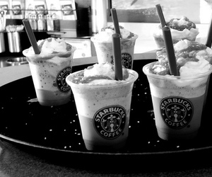 black and white, cafe, and coffee image