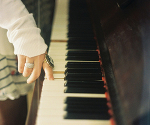 piano, girl, and music image