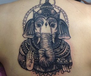 art, black, and elephant image