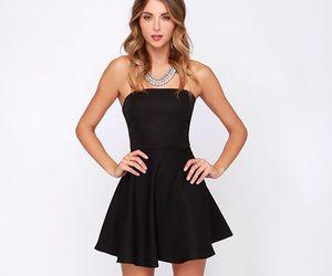 black dress, fashion, and high heels image