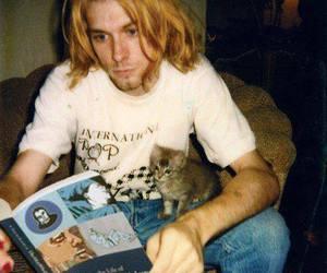 kurt cobain, nirvana, and cat image