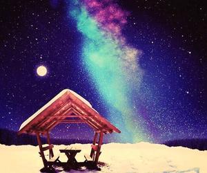 aurora, sky, and snow image