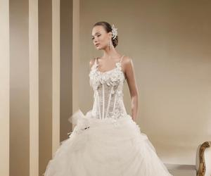 wedding dress, wedding gown, and lace image