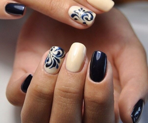 nails, manicure, and black image
