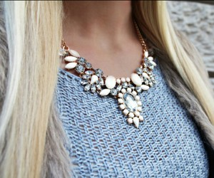 blue, knitwear, and necklace image