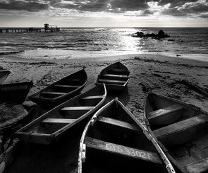 black and white, beach, and boat image