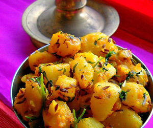 indian food, yummy, and jeera aloo image