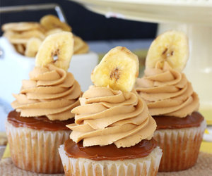 banana, food, and cupcakes image