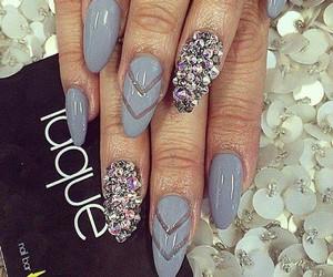 nails, grey, and diamond image