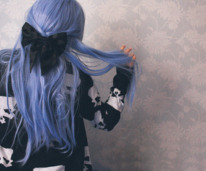blue hair, girl, and hair image