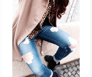 animal print, fashion, and ripped jeans image