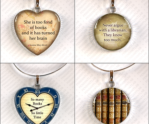 book, librarian, and necklace image