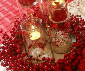 candles, centerpieces, and table image