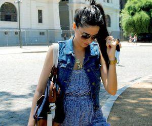 bag, brunette, and dress image