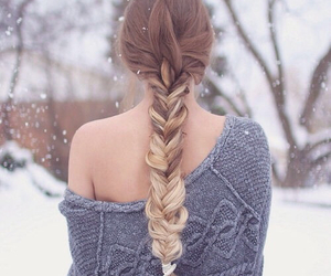 hair, winter, and snow image
