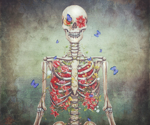 skeleton and flowers image