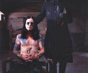 Marilyn Manson, Ozzy Osbourne, and black and white image