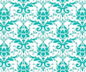 damask, floral, and sea green image
