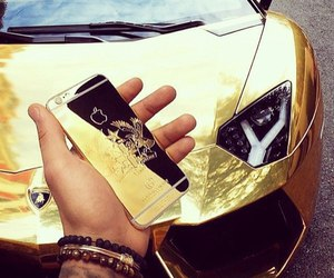 gold, car, and iphone image