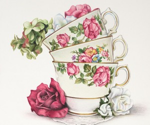 cup, rose, and vintage image