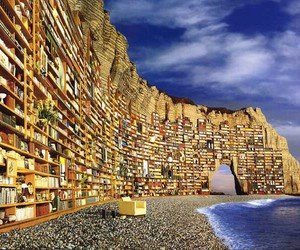 book, sea, and library image