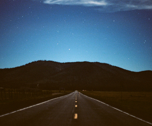 road, night, and sky image