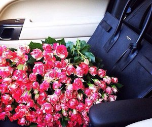 bags, luxery, and roses image