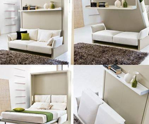 bed, bed room, and home image
