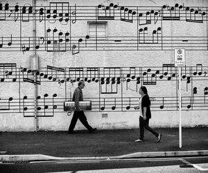 music, street, and wall image