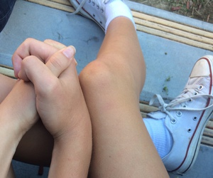 converse, teenagers, and couple image