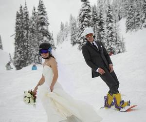 snow, snowboarding, and love image