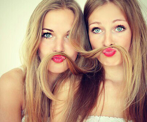 best friends, blond hair, and red lipstick image