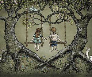 love, tree, and heart image