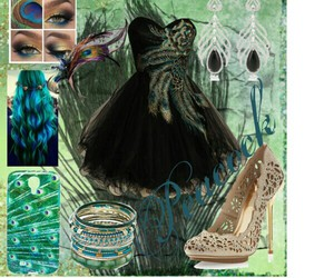fashion, peacock, and Polyvore image