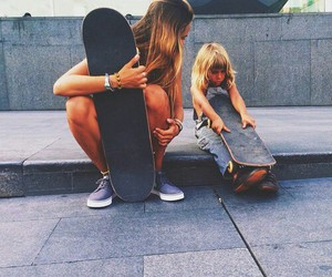 girl, skate, and sisters image