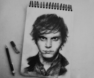 evan peters, drawing, and ahs image