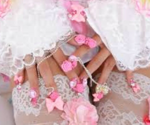 bedazzled, bows, and gyaru image