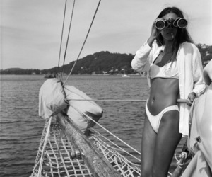 summer, black and white, and bikini image