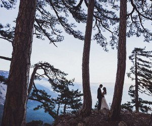 bride, couple, and forest image