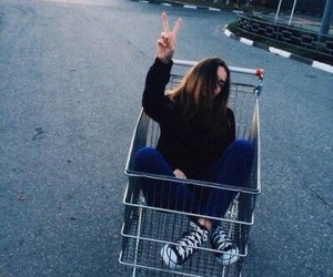 girl, happy, and shopping cart image