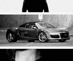 christian grey, audi, and black and white image