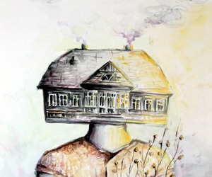 art, old house, and painting image