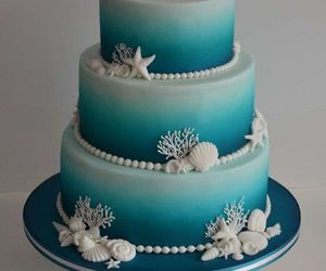 blue, cake, and beach themed image