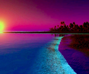 beach, sunset, and pink image
