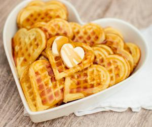 breakfast, heart, and waffles image