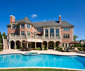 house, mansion, and pool image