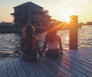 best friends, dock, and girls image