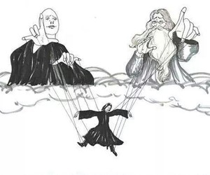 dumbledore, voldemort, and harry potter image