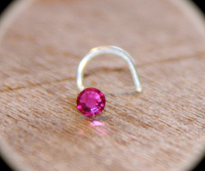hot pink, nose stud, and piercing image